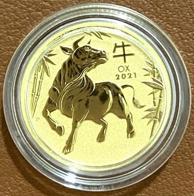 1/10 Unze Gold Australia Lunar lll Ochse 2021