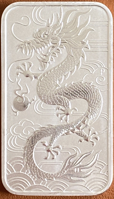 1 Unze Perth Mint Dragon Silver Bar 2018