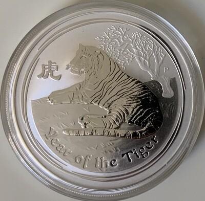 2 Unzen Silber Australia Lunar ll 2010 Tiger