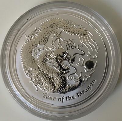5 Oz Silver Australia Lunar II 2012 Dragon