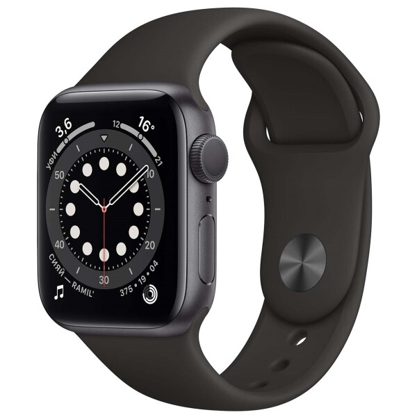 Watch S6 40mm Space Gray Aluminum Case with Black Sport Band