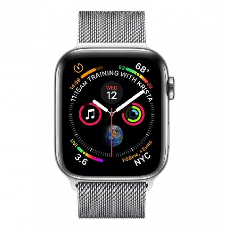 4 GPS + Cellular 44mm Stainless Steel with Milanese Loop Silver