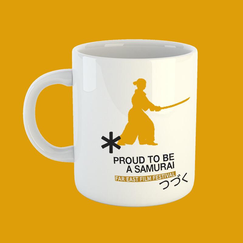 Golden samurai mug