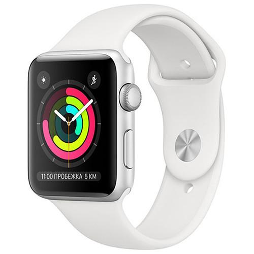 Умные часы Apple Watch Series 3, GPS, 42mm, корпус из серебристого алюминия, спортивный ремешок белого цвета RUS