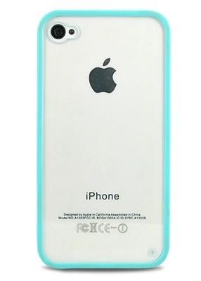 Чехол для iPhone 4/4S Бампер с прозрачной стенкой (Голубой)