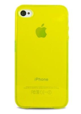 Чехол для iPhone 4/4S Однотонный силикон (Желтый)