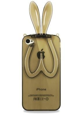 Чехол для iPhone 4/4S Силиконовый заяц (Черный)