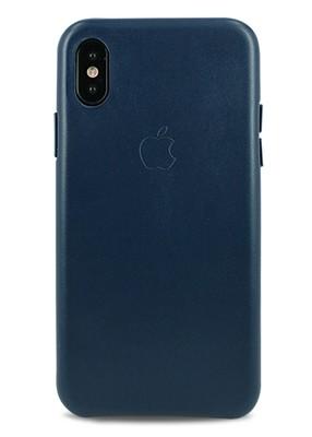 Чехол для iPhone X Apple Leather Case Lux (Темно синий)