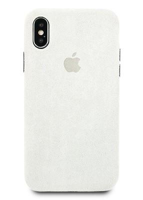 Чехол для iPhone X Alcantara Premium силикон (Серый)