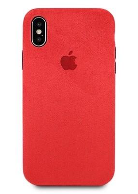 Чехол для iPhone X Alcantara Premium силикон (Красный)