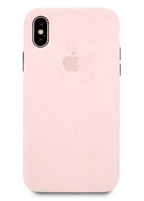 Чехол для iPhone X Alcantara Premium силикон (Розовый)
