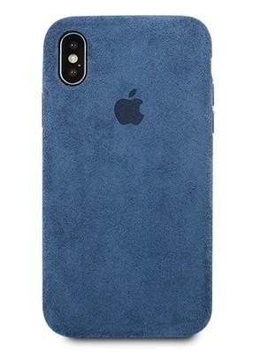 Чехол для iPhone X Alcantara Premium силикон (Синий)