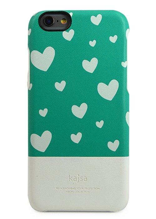 Чехол для iPhone 6/6S Kajsa накладка (Сердечки на Бирюзовом)