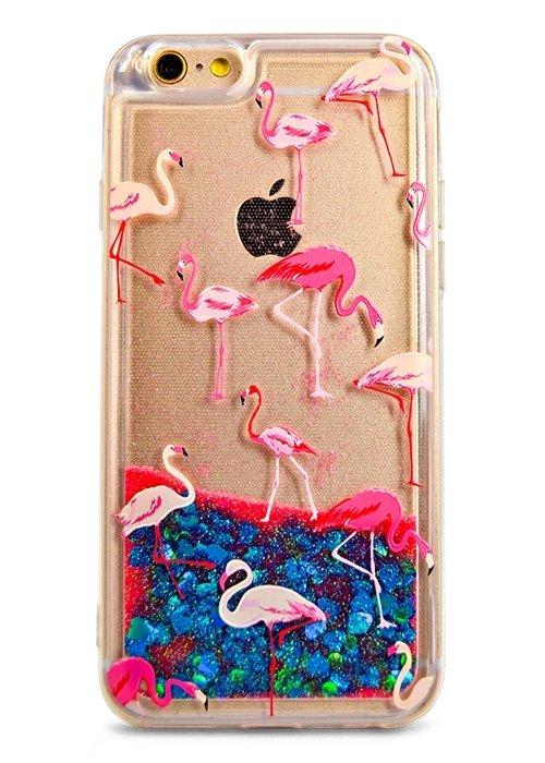 Чехол для iPhone 6/6S Lovely stream силикон Lux (Фламинго на синем)