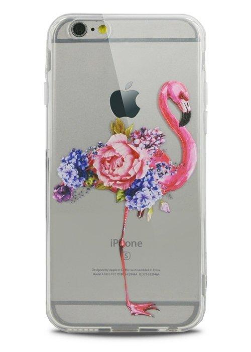 Чехол для iPhone 6/6S Lovely силикон (Flamingo in flowers)