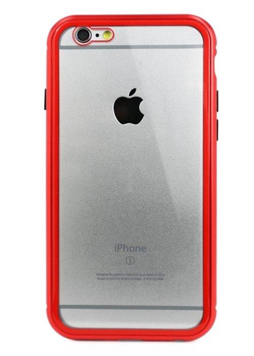 Чехол для iPhone 6/6S Magnet glass case (Прозрачный красный)