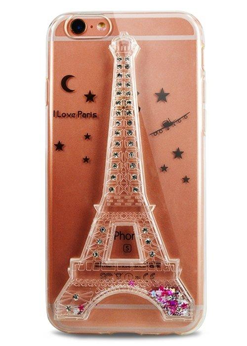 Чехол для iPhone 6/6S Paris пересыпучка (Серебро)