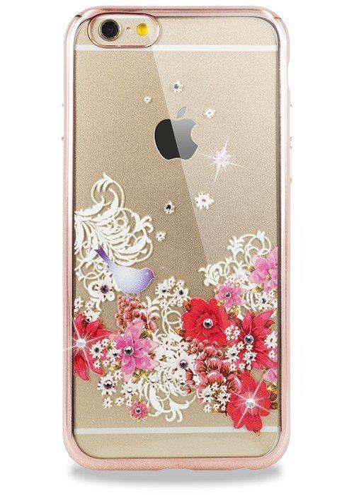Чехол для iPhone 6/6S PGS Swarovski (Птица на цветах Розовый)