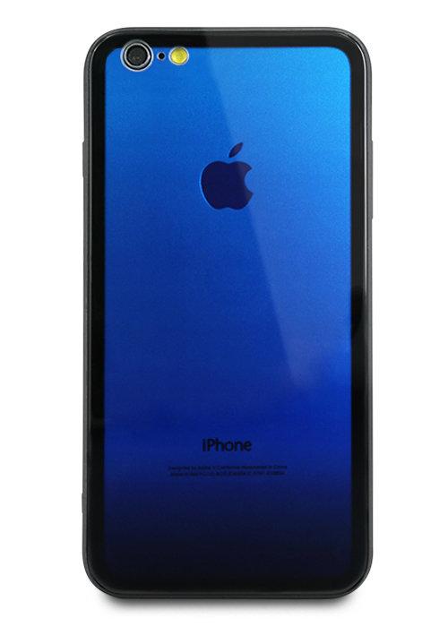 Чехол для iPhone 6/6S Shining gradient glass+силикон (Синий)
