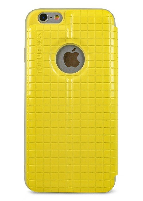Чехол для iPhone 6/6S TOTU книжка фактура квадрат (Желтый)