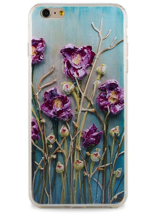 Чехол для iPhone 6/6S Гуашь (Бордовые цветы на голубом)