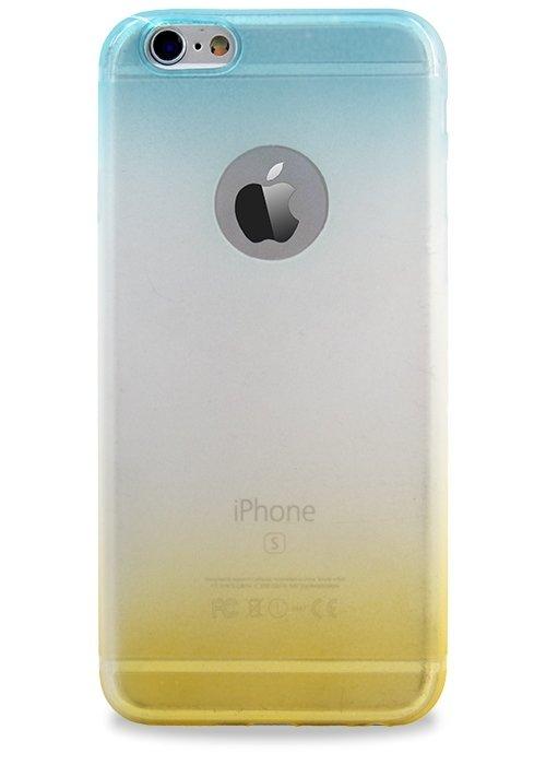 Чехол для iPhone 6/6S Омбре триколор матовый (Голубо/Желтый)