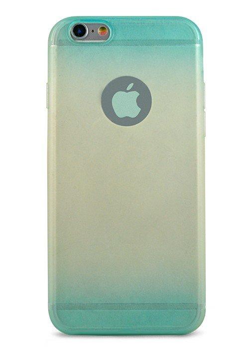 Чехол для iPhone 6/6S Омбре триколор матовый (Голубой)