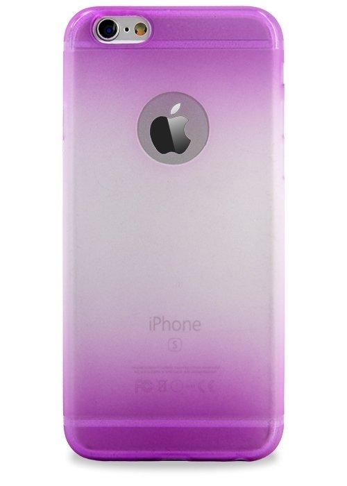 Чехол для iPhone 6/6S Омбре триколор матовый (Фиолет/Малиновый)