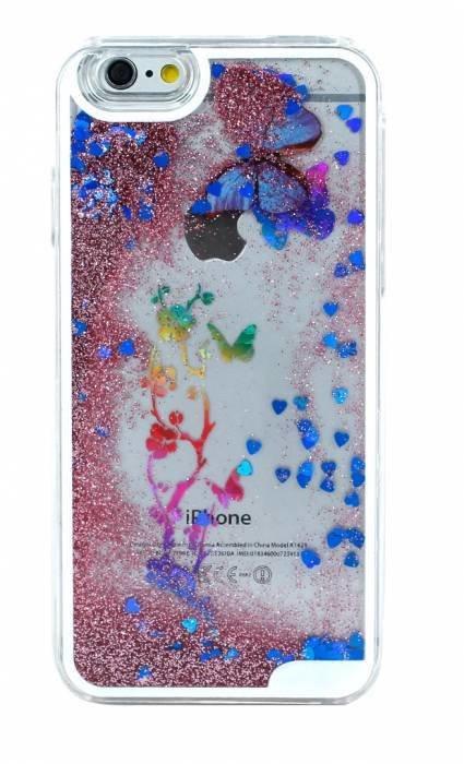 Чехол для iPhone 6/6S Пересыпучки (пластик) (Бабочки синие)