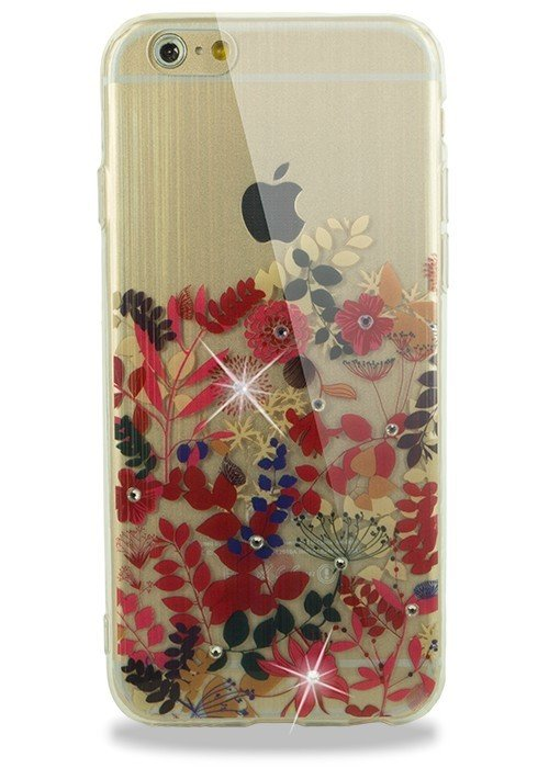 Чехол для iPhone 6/6S Силик рис с переливом и стразами (Красная растительность)