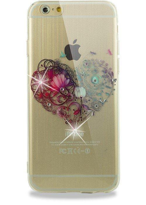 Чехол для iPhone 6/6S Силик рис с переливом и стразами (Сердце)
