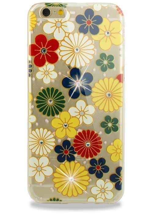 Чехол для iPhone 6/6S Силик цвет рис стразы, протекция (Цветные цветы)