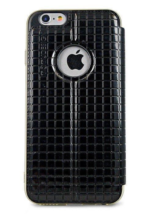 Чехол для iPhone 6+/6S+ TOTU книжка фактура квадрат (Черный)