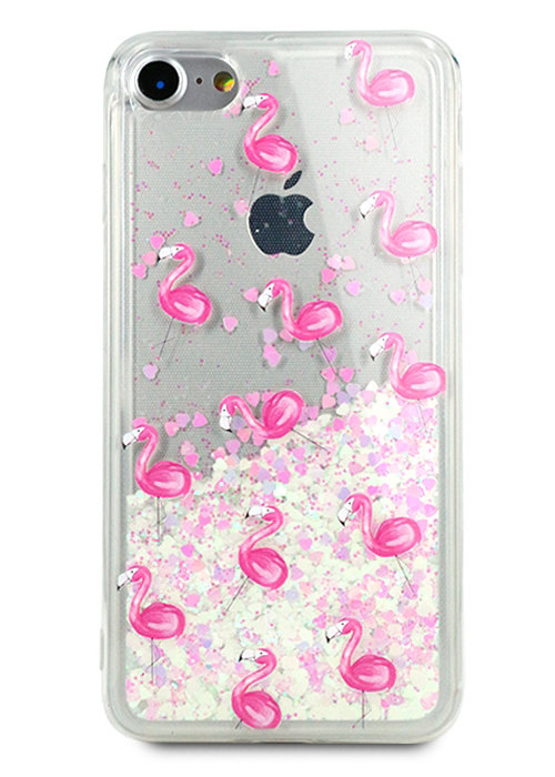 Чехол для iPhone 7 Lovely stream силикон Lux (Фламинго на белом)