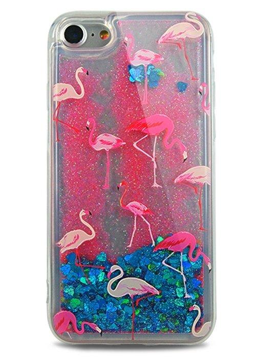 Чехол для iPhone 7 Lovely stream силикон Lux (Фламинго на синем)