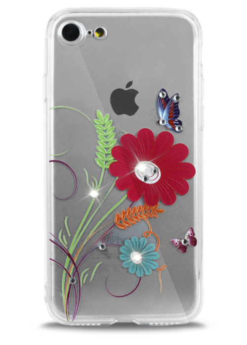 Чехол для iPhone 7 Воздушность (Цветы с колосками)