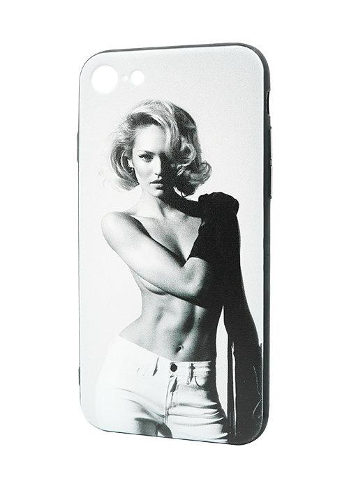 Чехол для iPhone 7 Принт рельеф (Модель на белом)
