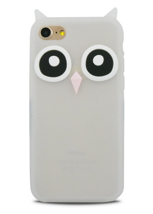Чехол для iPhone 7 Филин резина (Белый)