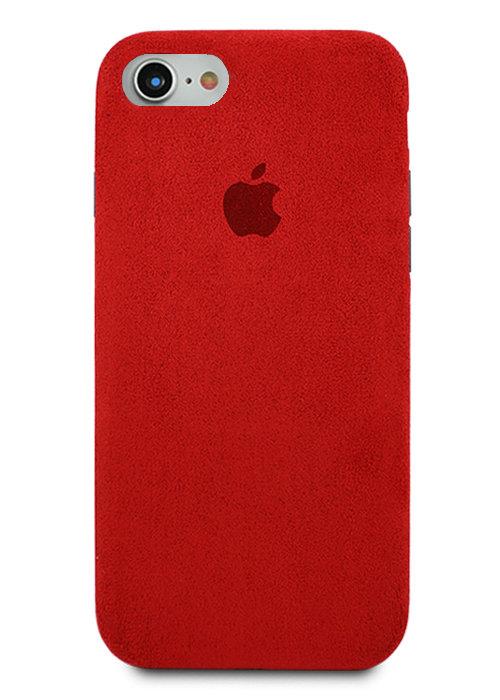 Чехол для iPhone 7/8 Alcantara Premium (Красный)