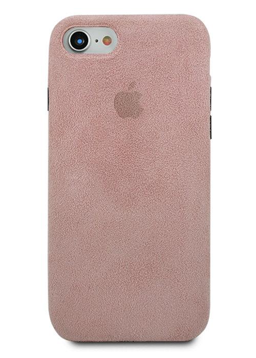 Чехол для iPhone 7/8 Alcantara Premium (Розовый)