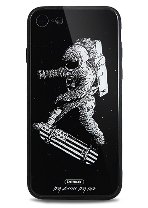 Чехол для iPhone 7/8 Astronaut стекло (Skateboard)