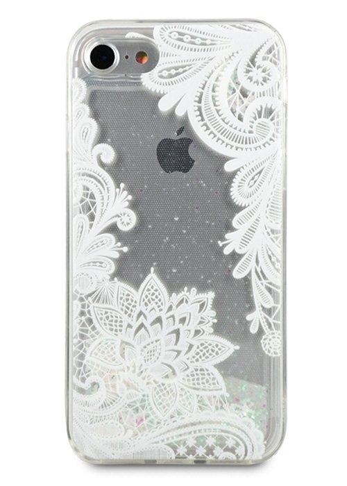 Чехол для iPhone 7/8 Beauty shine силикон (Белый узор)