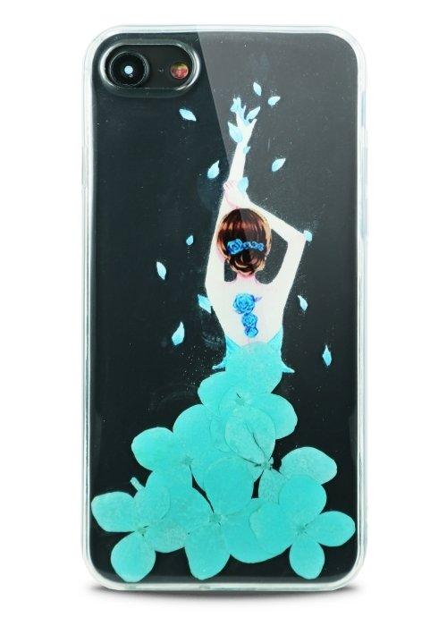 Чехол для iPhone 7/8 Dress petals (Голубой)