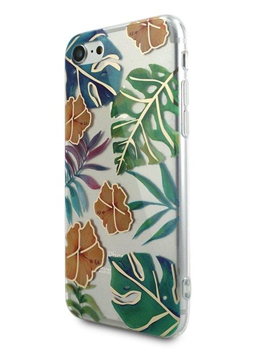 Чехол для iPhone 7/8 Gold tropic силикон (Пальмовые листья)