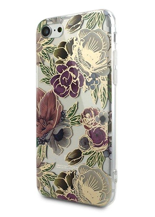 Чехол для iPhone 7/8 Gold tropic силикон (Цветы)