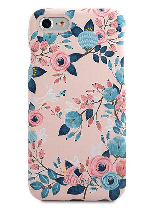 Чехол для iPhone 7/8 Kutis 360 PC (Цветы и ягоды на розовом)