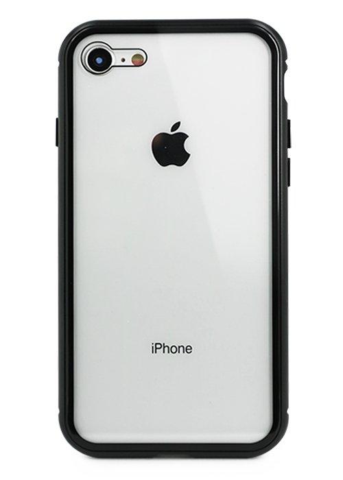 Чехол для iPhone 7/8 Magnet glass case (Прозрачный черный)
