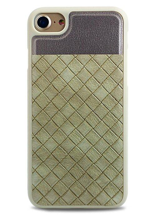 Чехол для iPhone 7/8 Plait силикон+кожа (Бежевый)