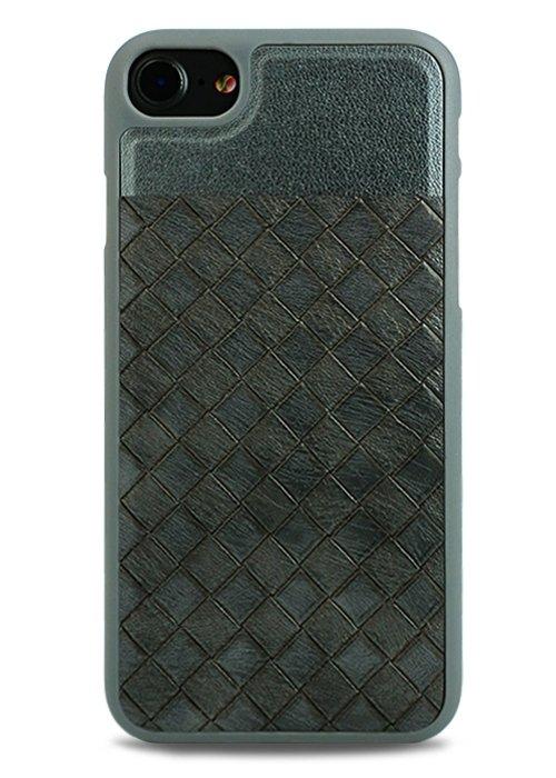 Чехол для iPhone 7/8 Plait силикон+кожа (Серый)