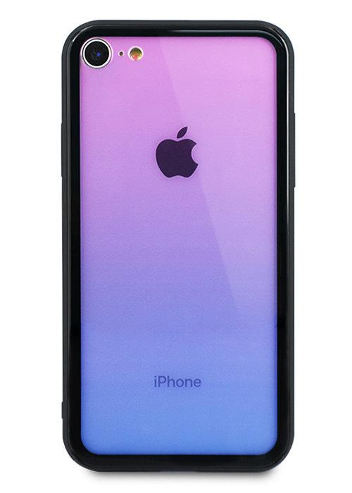 Чехол для iPhone 7/8 Shining gradient glass+силикон (Сиреневый)